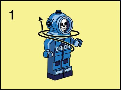 Step 1 drown challenger deep scuba skull instructions vector illustration diver lego