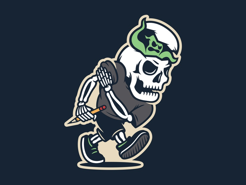 LET ME AT EM vector logo sports self promo illustration art ghost skeleton skull retro character mascot