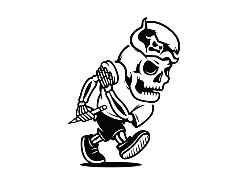 LET ME AT EM AGAIN self promo black and white vector illustration art logo sports ghost skeleton skull retro character mascot