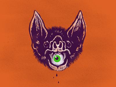 Bat distressed texture orange purple art ink screenprint eye inktober bat halloween illustration