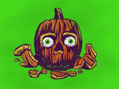 Pumpkin jackolantern spooky purple green texture screenprint eyes skull halloween october inktober ink illustration pumpkin