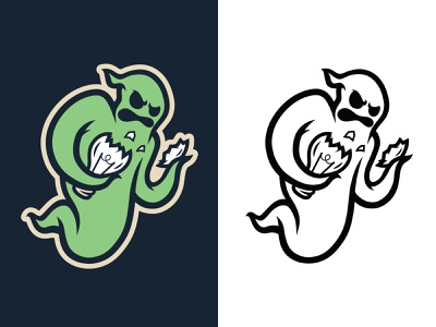 Ghost Inside black and white illustration character badge angry branding self promo idea retro logo mascot ghost