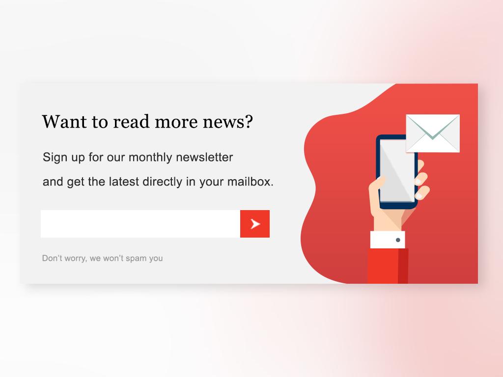 Newsletter sign up form (red) vector graphic  design uxdesign uidesign userexperiencedesign userexperience cta call to action newsletter newsletters ui  ux design ux ui design