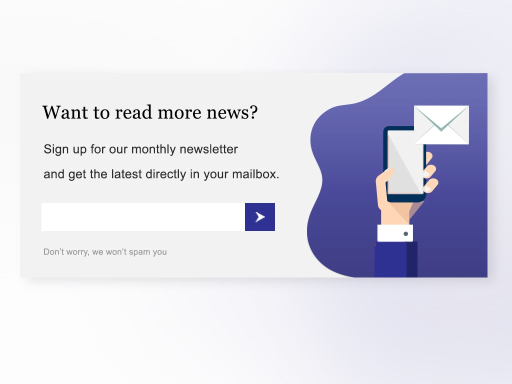 Newsletter sign up form (indigo) web ux ui vector illustration uxdesign ux ui design ui  ux design newsletters uidesign graphic  design newsletter userexperiencedesign userexperience cta call to action