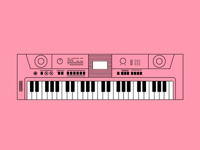 Piano electric equipment art color musical keyboard piano electronic isolated music synthesizer