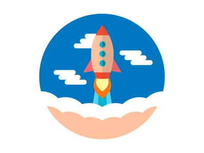 Rocket Launch background flat start concept up business illustration product vector design launch rocket