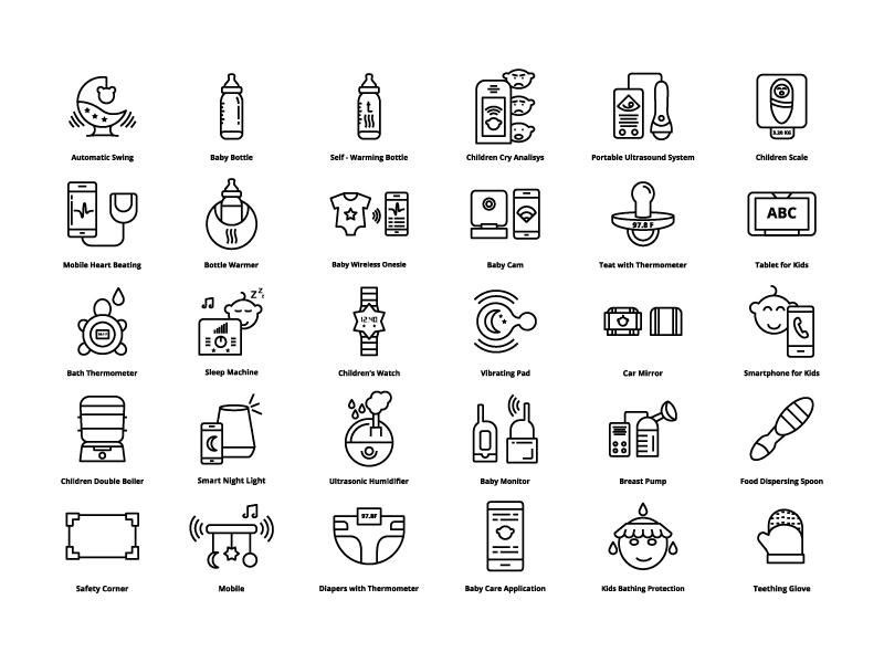 Baby Gadjets Line Icons gadget