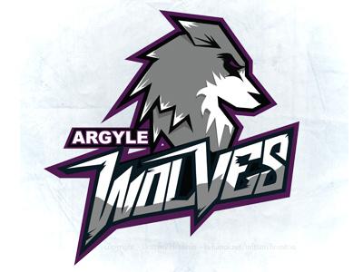 Argyle Wolves  logo sports wolves argyle purple grey wolf white