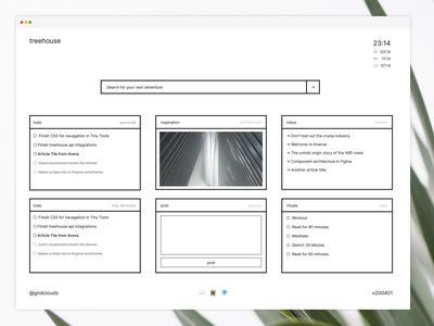 treehouse.gndclouds.cc light mode minimalism personal dashboard dashboard minimal ui