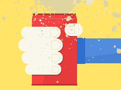 Exploding soda can illustration flat illustrator editorial