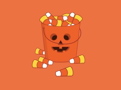 Overflowing Halloween candy bucket halloween orange candy illustrator