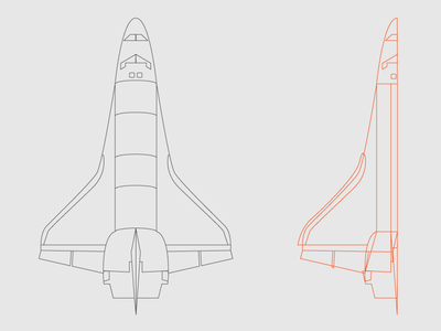 Space Shuttle illustrator top view process space shuttle