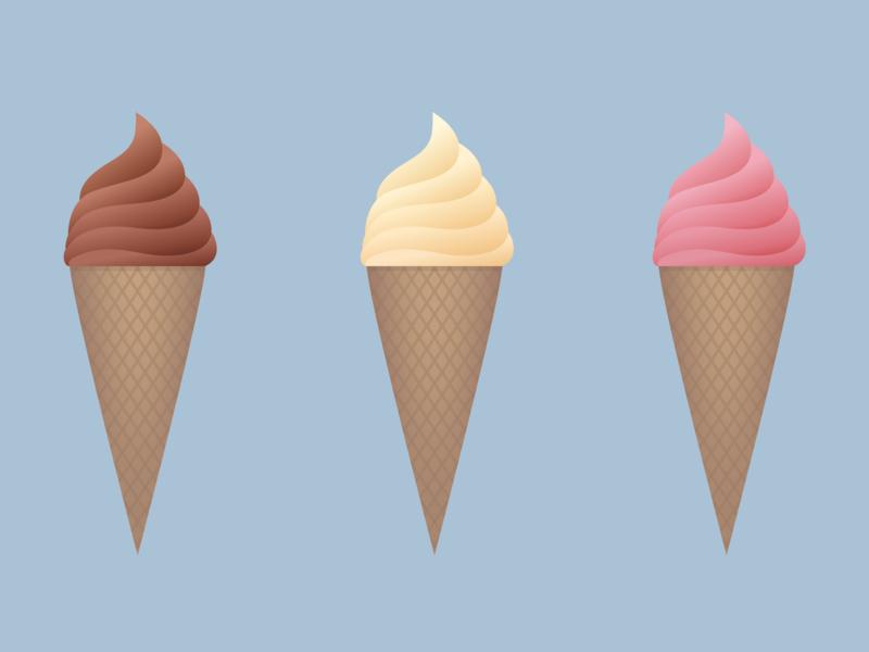 Ice Cream Cones summer food icecream cartoon minimal svg vector illustration
