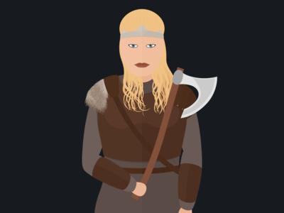 Sigrid nordic axe viking woman character minimalistic cartoon inkscape illustration minimal vector svg