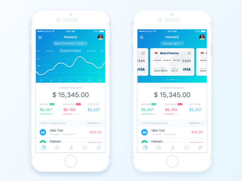 Finance Summary Page card transactions graphic money dashboard finance mobile ios app