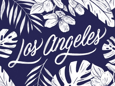 Los Angeles Type plants palm adventure travel los angeles organic flowers tropical palm tree illustration typography hand lettering lettering
