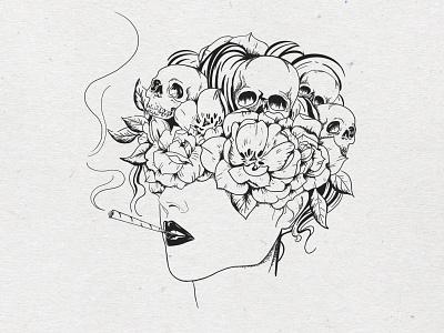 Nightmare hand drawn fine lines fineart illustrator black and white girl smoke flowers skulls illustration