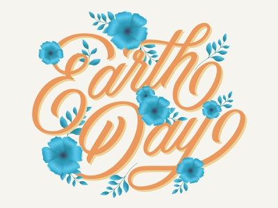 Happy Earth Day hand drawn type typography flowers illustration hand lettering lettering floral illustration floral earth day nature illustration nature