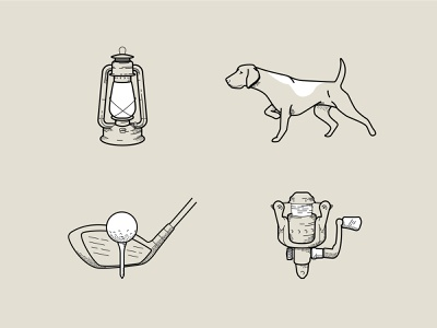 Sports and Outdoors Icon Design rod club hunting linework camping lantern golf fishing dog outdoors sports iconography icon