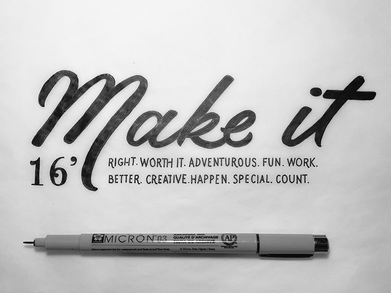 2016 Goals black and white sketchbook sketch drawing hand lettering 2016 resolution lettering hand drawn type typography type