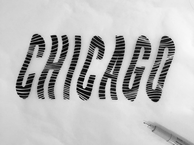 Windy City typography black and white travel city illinois windy city wind chicago micron hand drawn type lettering type