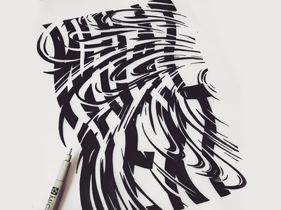 What Next Type black and white canvas fineart typography distorted swirl hand drawn type lettering type