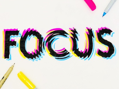 Focus Type black and white sharpie typography distorted cmyk hand drawn type lettering type