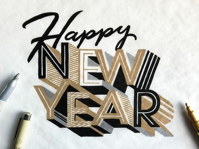 Happy New Year! holiday new year hand lettering drawing illustration hand type hand drawn type typography type lettering