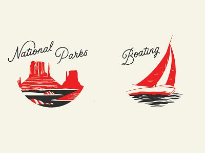 Illustration Badges branding lettering boating parks badge illustration