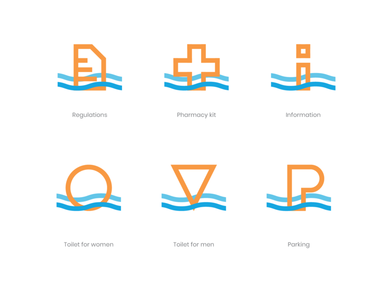 Icons - Zalew Kryspinów system mark vector illustration guide branding logo grid symbol icon icons identity brand water beach play funny sand waves sunny lake