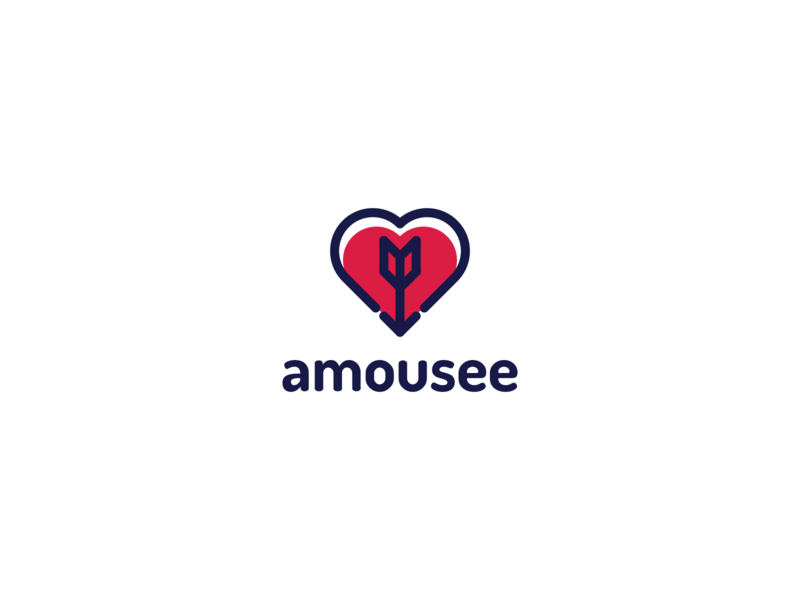 amousee - dating app loving sweetheart date dating love flame heart app application mobile brand branding idea creative graphic design perfect clean grid line concept startup logo logotype sign mark