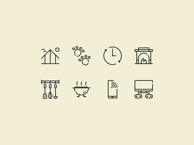 Summer house icon set website