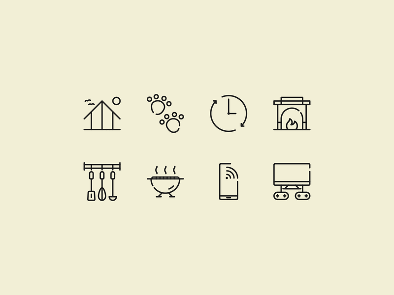Summer house icon set website animals phone icons kitchen home lake vector design illustration symbol