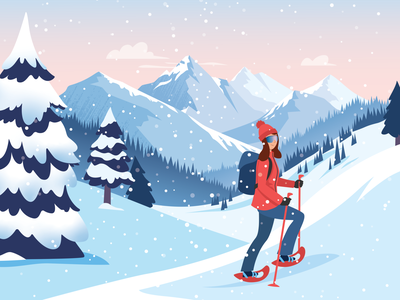 Snowshoeing girl mountains winter snowshoes snow snow day vector illustration