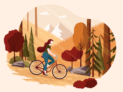 Fall Girl woods mountain bicycle forest fall trees illustration girl vector