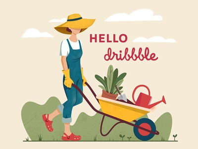 Gardening woman character watering can planter spring wheelbarrow flat illustration summer plants gardener gardening garden illustration girl vector