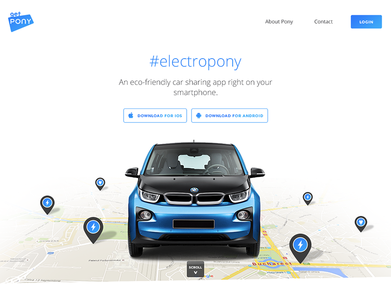 Landing Page For An Electric Car Sharing App By Ciprian Boiciuc
