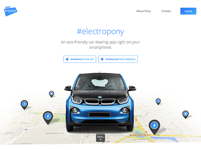 Landing page for an electric car sharing app sharing car android ios pins map minimal bmw electric landingpage landing