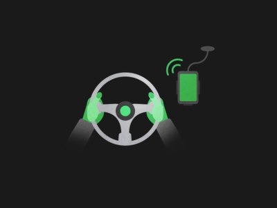 Small illustration for a driving app frontview car wheel green phone hands driving startup illustration