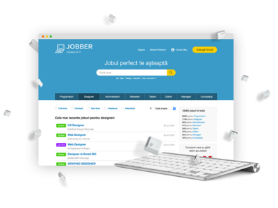 Product image for a job platform hire jobs jobber visual ui keyboard design promo image