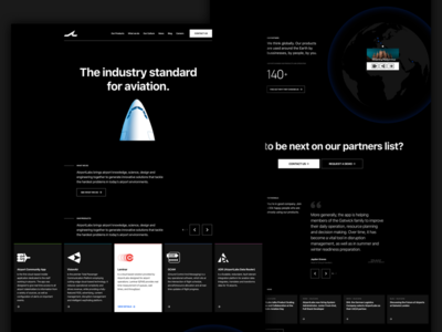AirportLabs black black and white website industry aviation corporate business plane airport ux ui