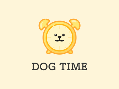 dog time puppy branding icon character symbol logo illustration cute dog animal logos