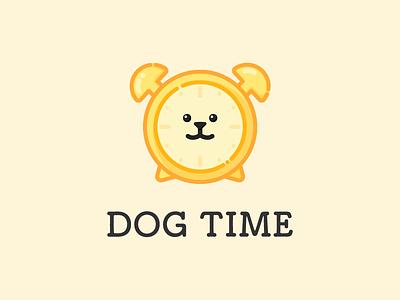 dog time puppy branding icon character symbol logo illustration cute dog animal logos