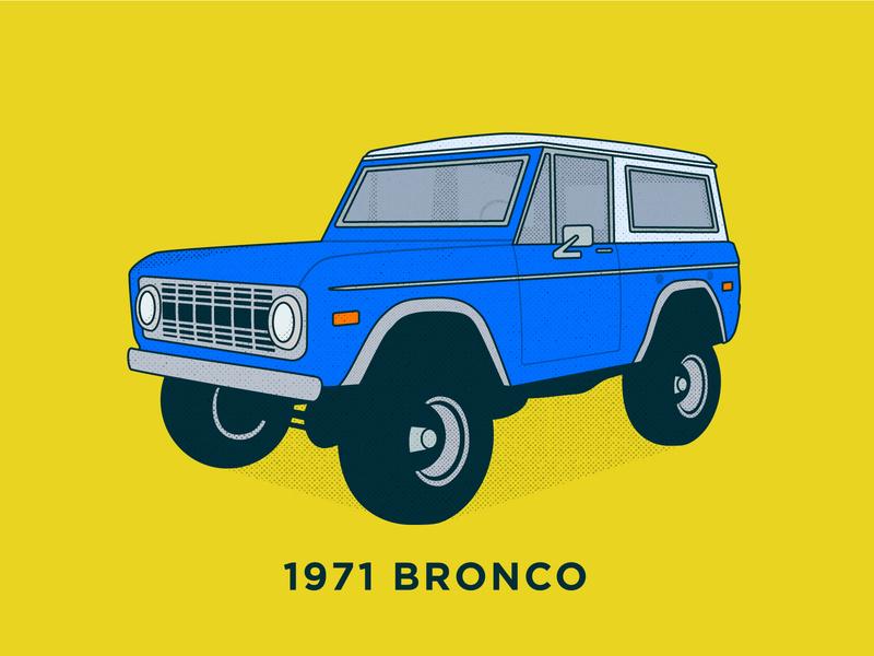 Bronco 1971 retro truck suv illustraion icon ford car bronco
