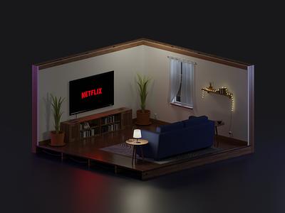 Chill Room room isometric chill blender b3d