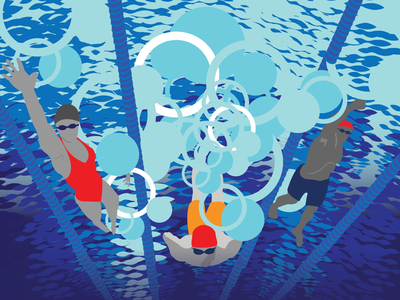 Illustration for a poster advertising adult swim lessons