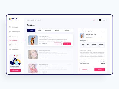 Tela Propostas | Post2b ui design ux design web webdesign design dashboad design app ux ui uiux