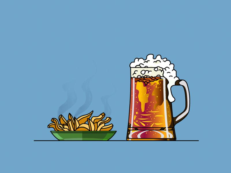 Beer & French Fries drink menu demet kural lineart icon beverage french fries beer vector illustrator illustration