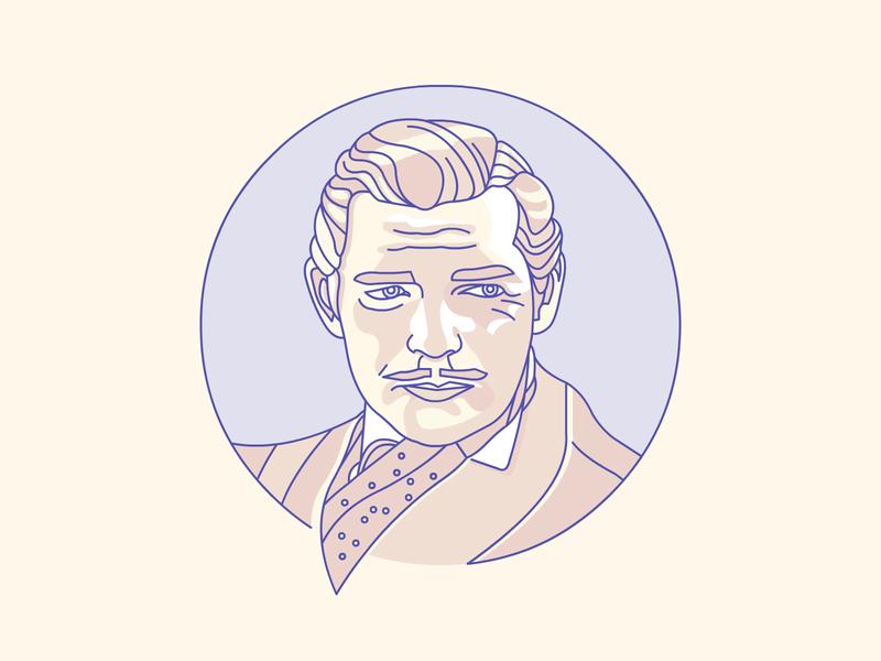 Clark Gable clark gable demet kural artwork character icon vector illustrator illustration