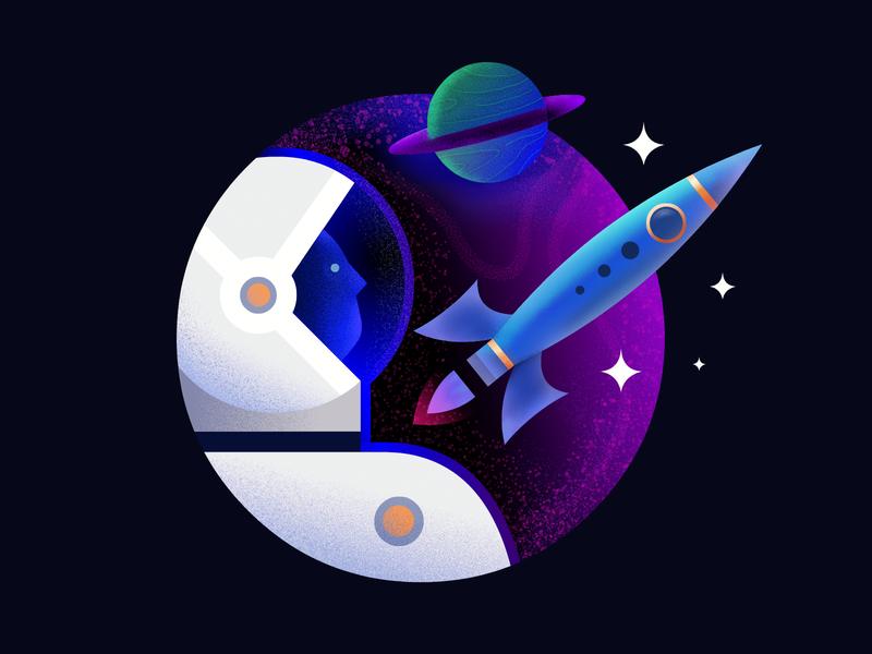 Spaceship Badge badge icon artwork astronout vector illustration demet kural planet spaceship space